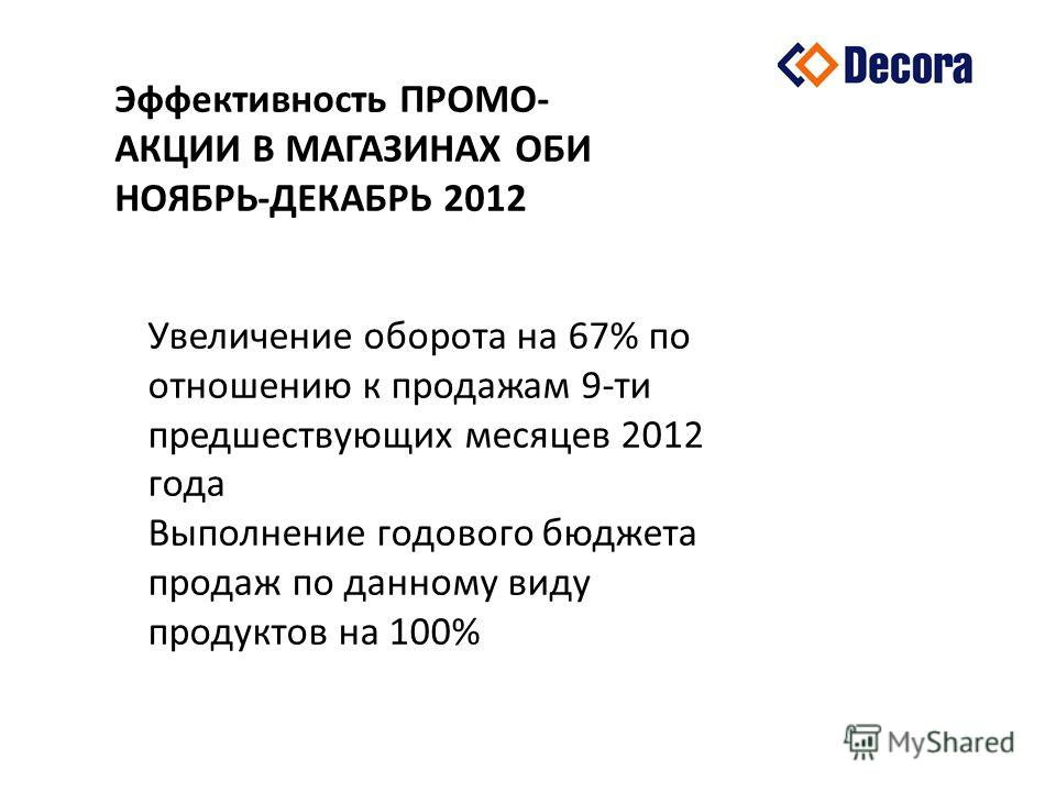 Эффективность ПРОМО- АКЦИИ В МАГАЗИНАХ ОБИ НОЯБРЬ-ДЕКАБРЬ 2012 Увеличение оборота на 67% по отношению к продажам 9-ти предшествующих месяцев 2012 года Выполнение годового бюджета продаж по данному виду продуктов на 100%