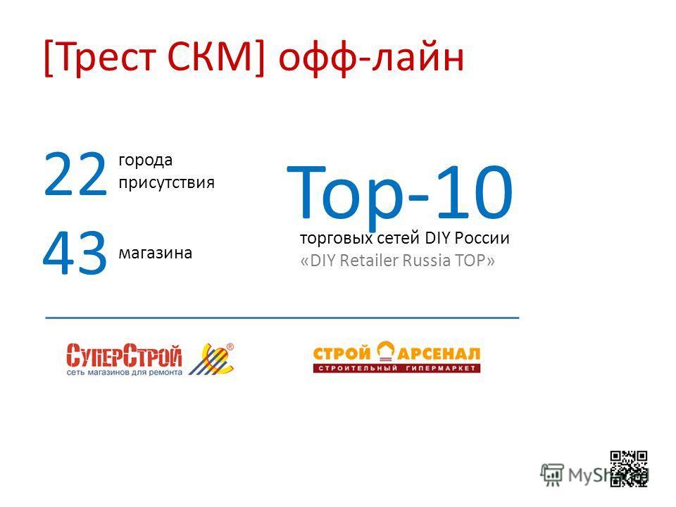 [Трест СКМ] офф-лайн города присутствия 22 магазина 43 торговых сетей DIY России «DIY Retailer Russia TOP» Top-10
