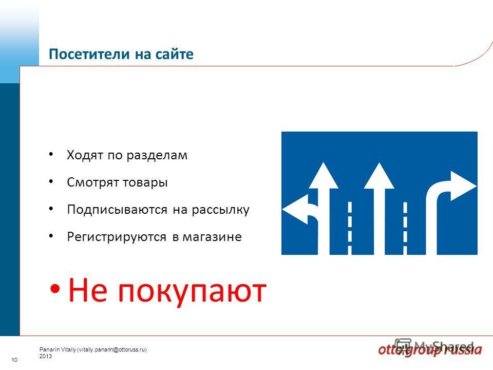 10 Panarin Vitaliy (vitaliy.panarin@ottoruss.ru) 2013 Ходят по разделам Смотрят товары Подписываются на рассылку Регистрируются в магазине Не покупают Посетители на сайте