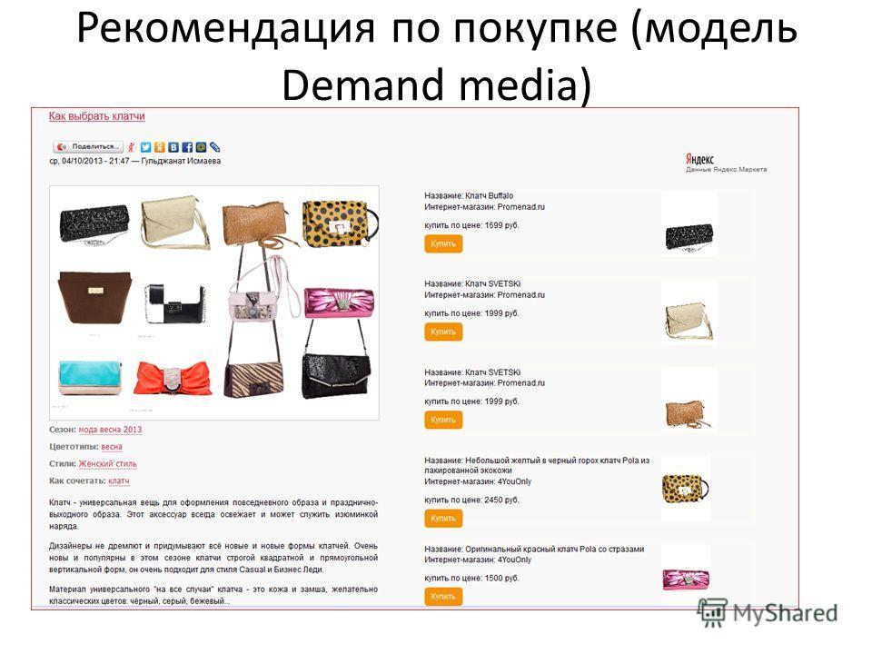 Рекомендация по покупке (модель Demand media)