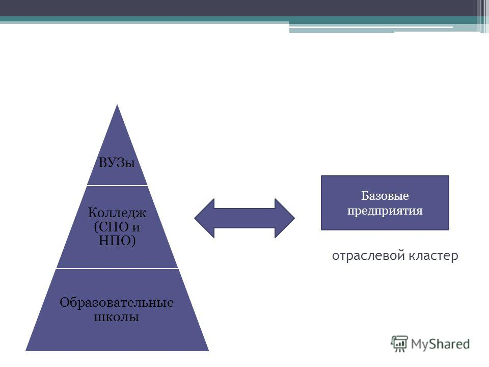 отраслевой кластер ВУЗы Колледж (СПО и НПО) Образовательные школы Базовые предприятия