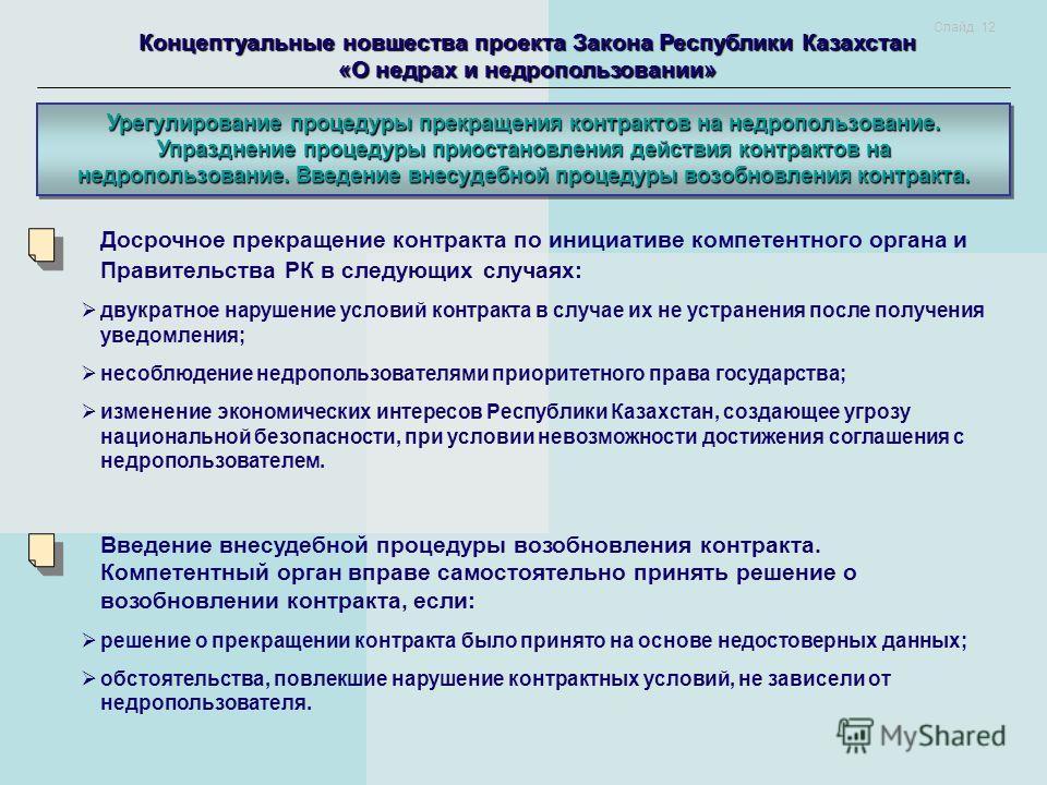 Концептуальные новшества проекта Закона Республики Казахстан «О недрах и недропользовании» Урегулирование процедуры прекращения контрактов на недропользование. Упразднение процедуры приостановления действия контрактов на недропользование. Введение вн