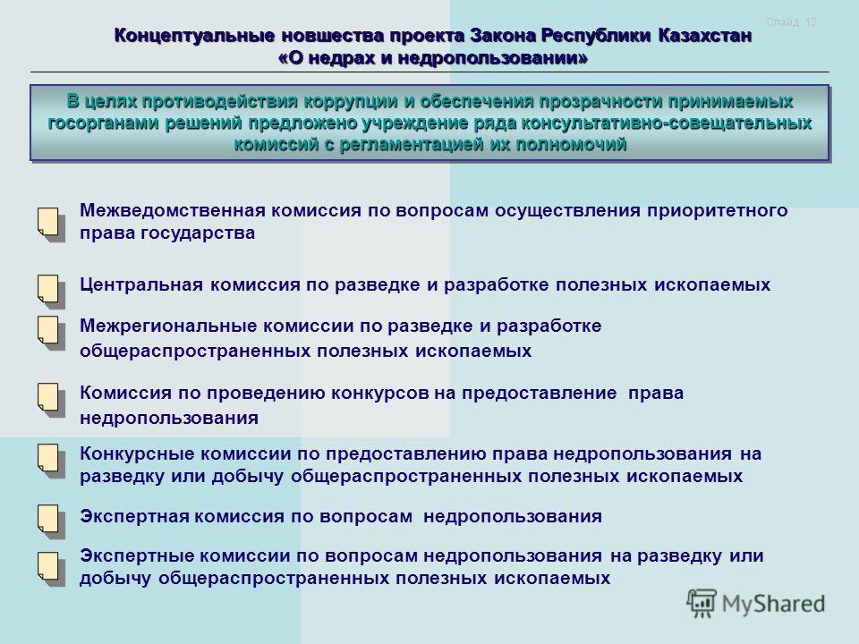 Концептуальные новшества проекта Закона Республики Казахстан «О недрах и недропользовании» В целях противодействия коррупции и обеспечения прозрачности принимаемых госорганами решений предложено учреждение ряда консультативно-совещательных комиссий с