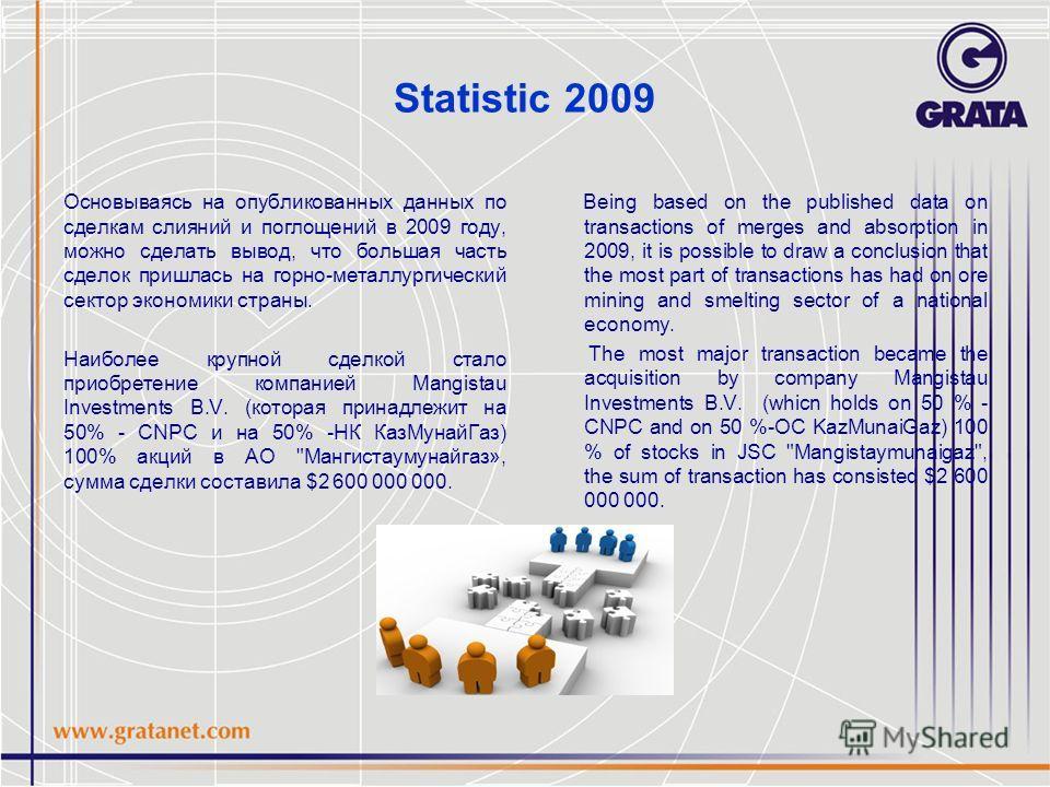 Statistic 2009 Основываясь на опубликованных данных по сделкам слияний и поглощений в 2009 году, можно сделать вывод, что большая часть сделок пришлась на горно-металлургический сектор экономики страны. Наиболее крупной сделкой стало приобретение ком