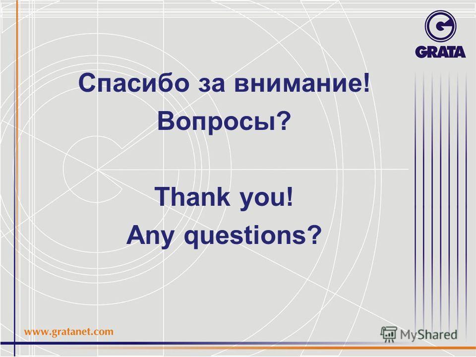 Спасибо за внимание! Вопросы? Thank you! Any questions?