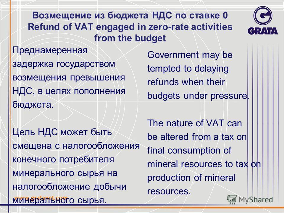 Возмещение из бюджета НДС по ставке 0 Refund of VAT engaged in zero-rate activities from the budget Преднамеренная задержка государством возмещения превышения НДС, в целях пополнения бюджета. Цель НДС может быть смещена с налогообложения конечного по