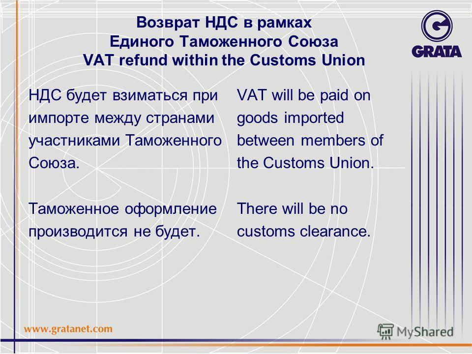 Возврат НДС в рамках Единого Таможенного Союза VAT refund within the Customs Union НДС будет взиматься при импорте между странами участниками Таможенного Союза. Таможенное оформление производится не будет. VAT will be paid on goods imported between m