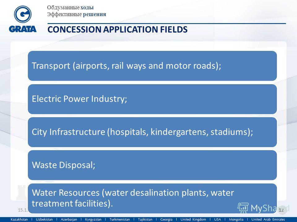 Обдуманные ходы Эффективные решения 15.12.201312 CONCESSION APPLICATION FIELDS Transport (airports, rail ways and motor roads);Electric Power Industry;City Infrastructure (hospitals, kindergartens, stadiums);Waste Disposal; Water Resources (water des