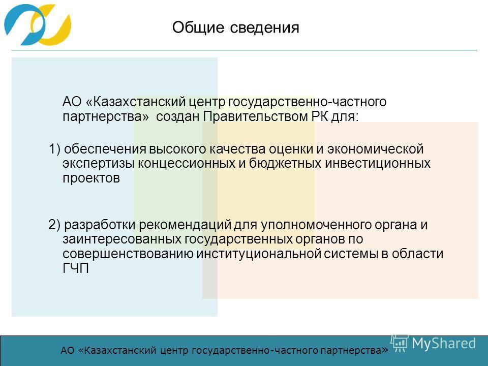 АО «Казахстанский центр государственно-частного партнерства » АО «Казахстанский центр государственно-частного партнерства» создан Правительством РК для: 1) обеспечения высокого качества оценки и экономической экспертизы концессионных и бюджетных инве