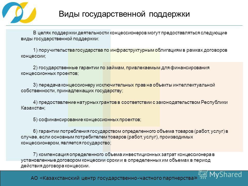 АО «Казахстанский центр государственно-частного партнерства » Виды государственной поддержки В целях поддержки деятельности концессионеров могут предоставляться следующие виды государственной поддержки: 1) поручительства государства по инфраструктурн