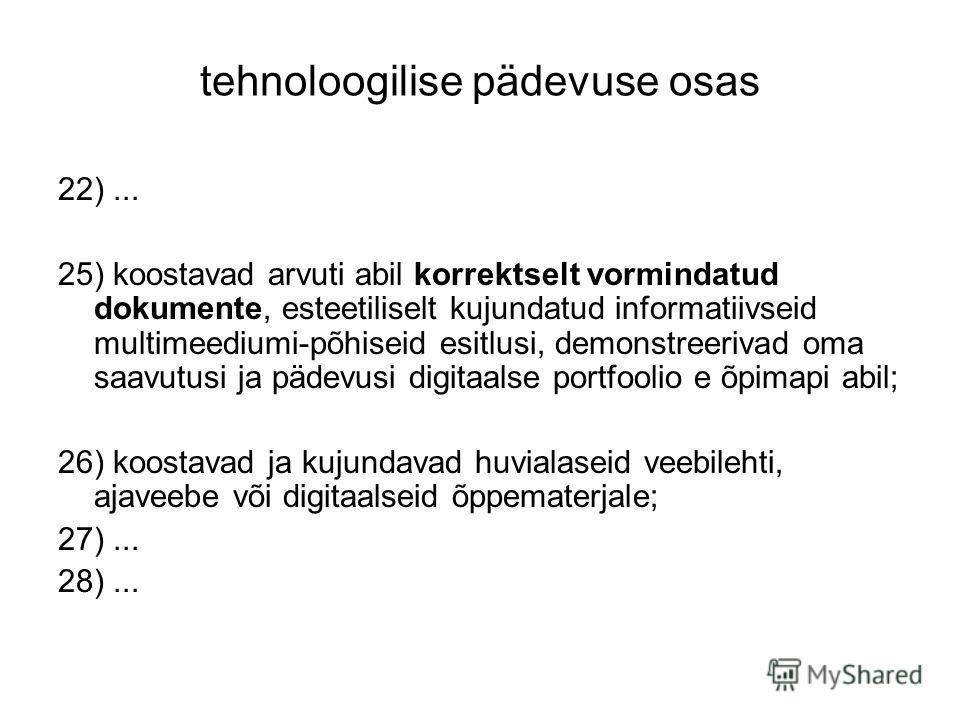 tehnoloogilise pädevuse osas 22)... 25) koostavad arvuti abil korrektselt vormindatud dokumente, esteetiliselt kujundatud informatiivseid multimeediumi-põhiseid esitlusi, demonstreerivad oma saavutusi ja pädevusi digitaalse portfoolio e õpimapi abil;