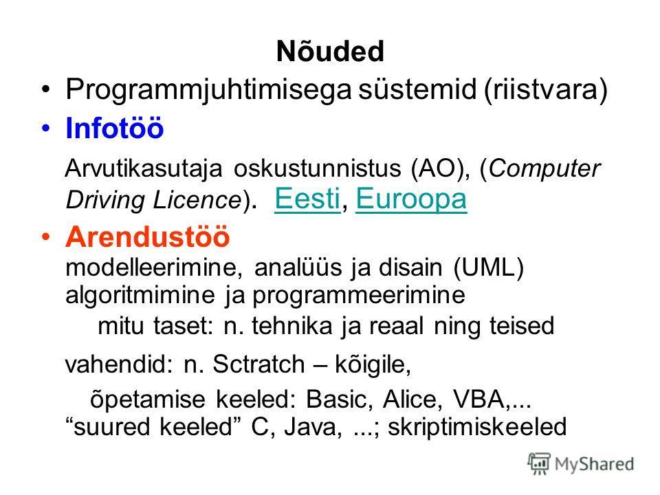 Nõuded Programmjuhtimisega süstemid (riistvara) Infotöö Arvutikasutaja oskustunnistus (AO), (Computer Driving Licence). Eesti, EuroopaEestiEuroopa Arendustöö modelleerimine, analüüs ja disain (UML) algoritmimine ja programmeerimine mitu taset: n. teh