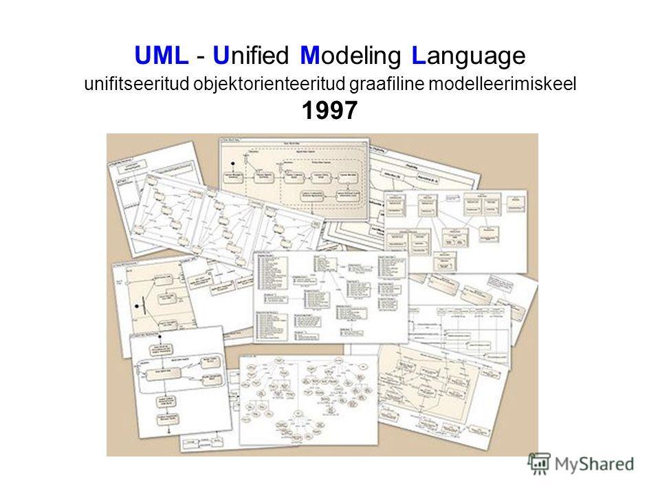 UML - Unified Modeling Language unifitseeritud objektorienteeritud graafiline modelleerimiskeel 1997