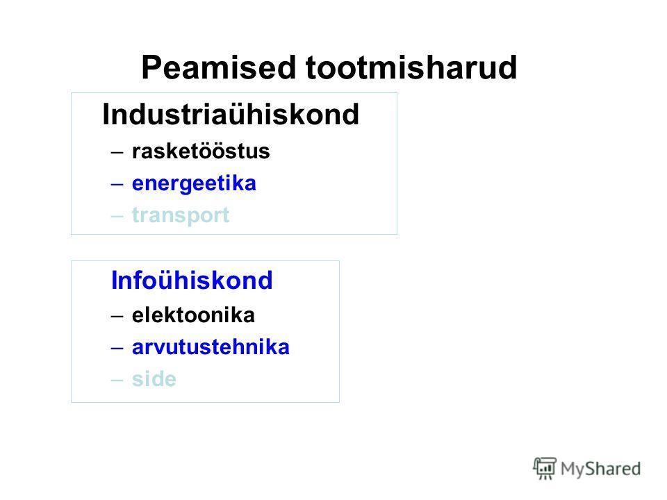 Peamised tootmisharud Industriaühiskond –rasketööstus –energeetika –transport Infoühiskond –elektoonika –arvutustehnika –side