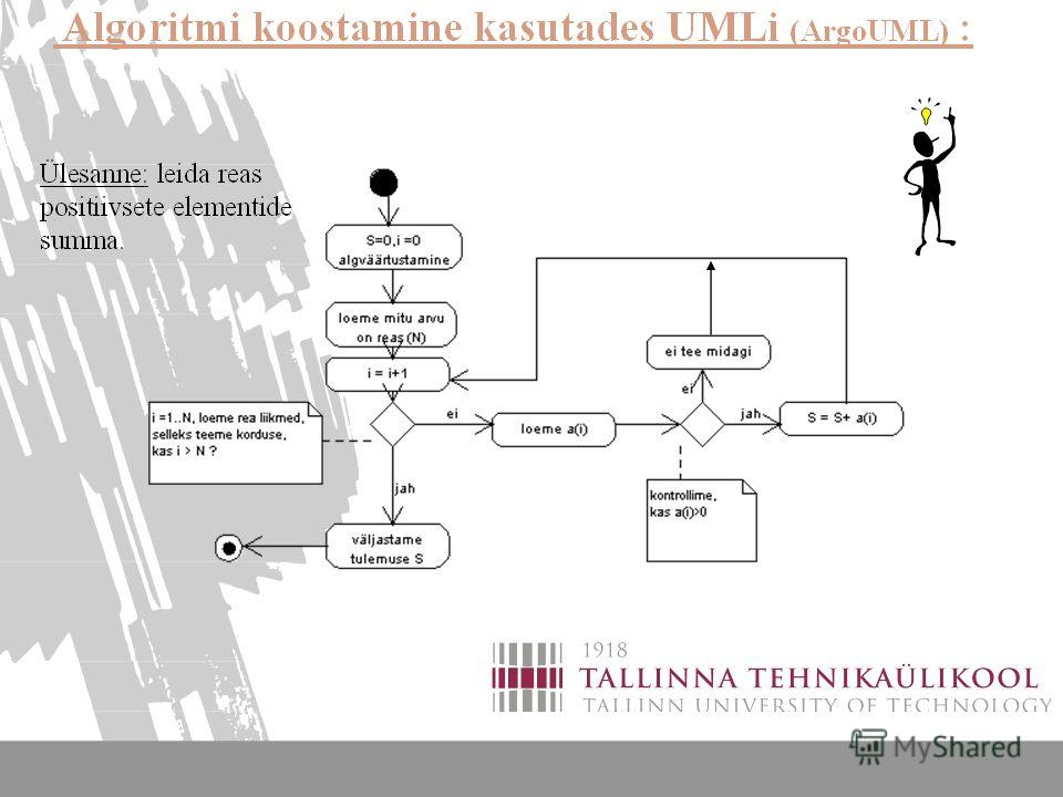 ALGORITMIDE KOOSTAMINE 5 Algoritmi esituse graafilised vahendid 4 ( UMLi tegevusdiagrammi kasutamine algoritmide koostamisel)