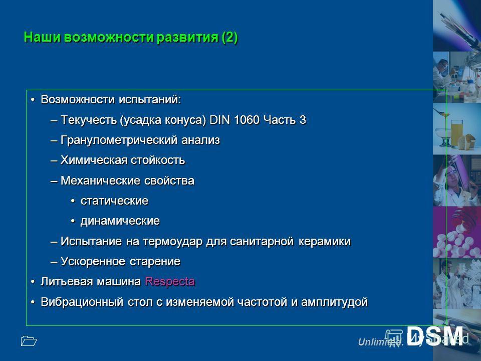 Unlimited. DSM 1 Наши возможности развития (2) Возможности испытаний:Возможности испытаний: –Текучесть (усадка конуса) DIN 1060 Часть 3 –Гранулометрический анализ –Химическая стойкость –Механические свойства статическиестатические динамическиединамич