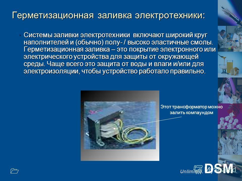 Unlimited. DSM 1 Герметизационная заливка электротехники: Системы заливки электротехники включают широкий круг наполнителей и (обычно) полу- / высоко эластичные смолы. Герметизационная заливка – это покрытие электронного или электрического устройства