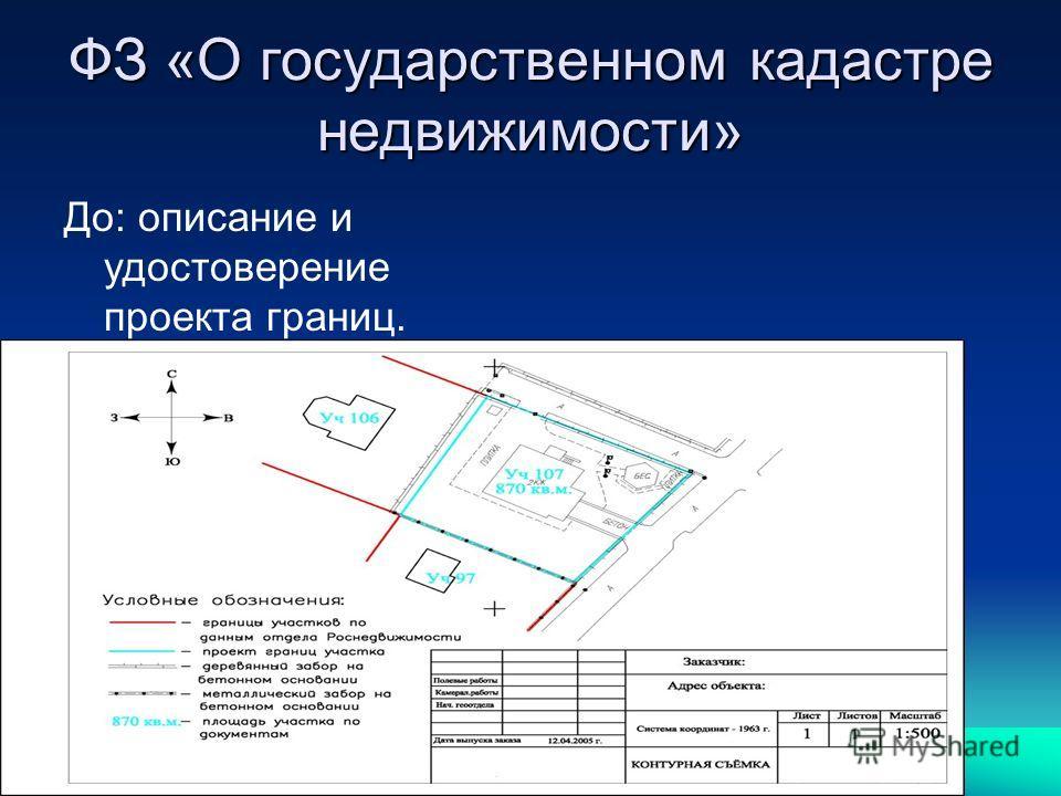 ФЗ «О государственном кадастре недвижимости» До: описание и удостоверение проекта границ.