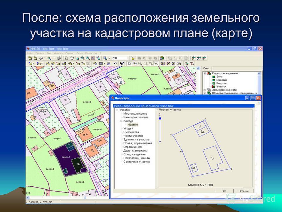 После: схема расположения земельного участка на кадастровом плане (карте)