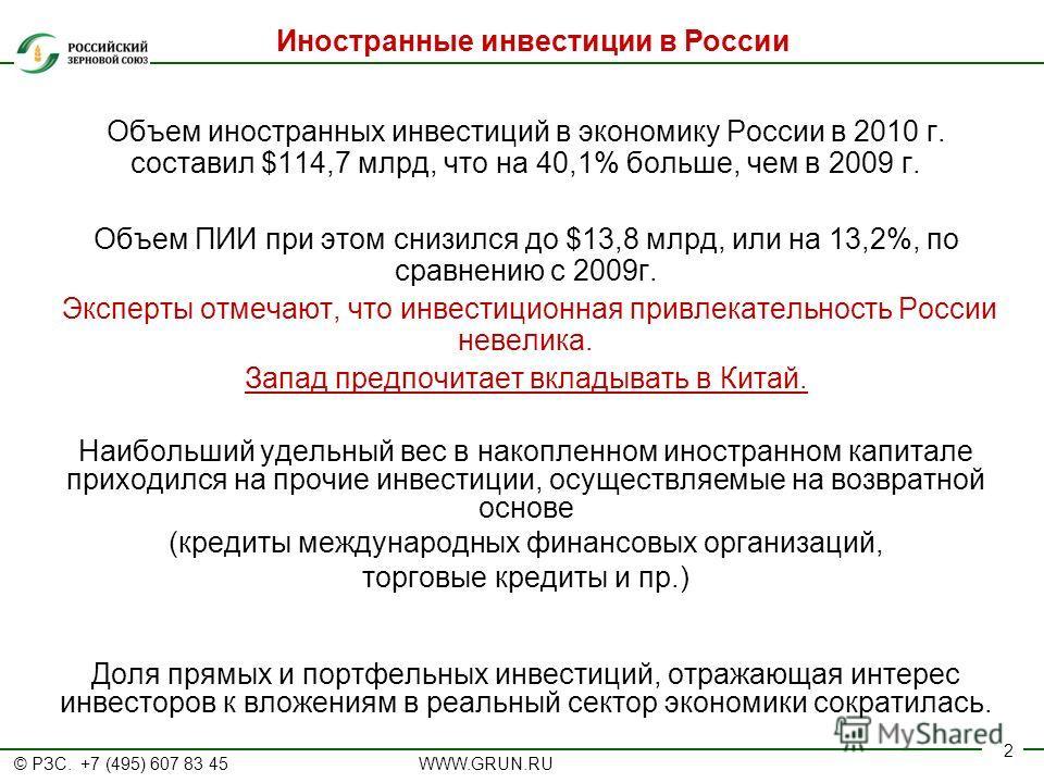 © РЗС. +7 (495) 607 83 45 WWW.GRUN.RU 2 Объем иностранных инвестиций в экономику России в 2010 г. составил $114,7 млрд, что на 40,1% больше, чем в 2009 г. Объем ПИИ при этом снизился до $13,8 млрд, или на 13,2%, по сравнению с 2009г. Эксперты отмечаю