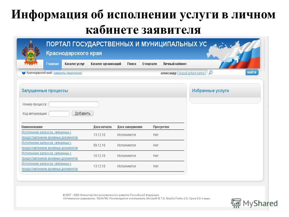 Информация об исполнении услуги в личном кабинете заявителя
