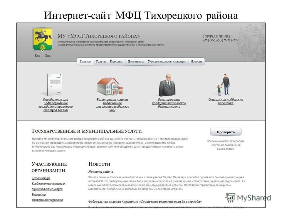 Интернет-сайт МФЦ Тихорецкого района