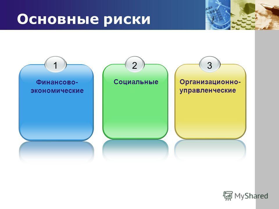 www.themegallery.com Company Logo Основные риски 1 Финансово- экономические 2 Социальные 3 Организационно- управленческие
