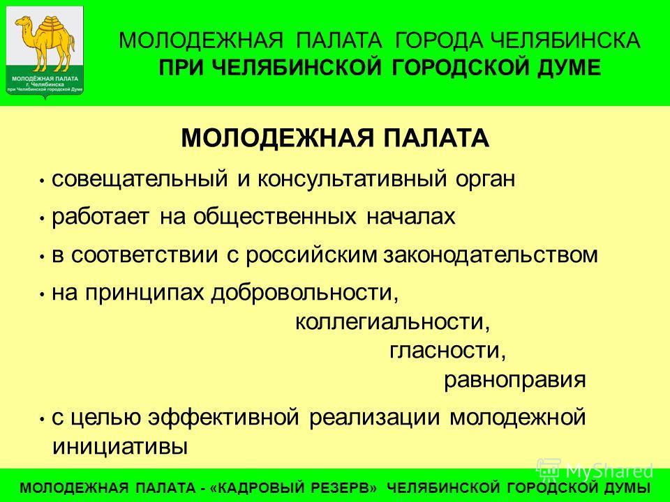 МОЛОДЕЖНАЯ ПАЛАТА ГОРОДА ЧЕЛЯБИНСКА ПРИ ЧЕЛЯБИНСКОЙ ГОРОДСКОЙ ДУМЕ МОЛОДЕЖНАЯ ПАЛАТА - «КАДРОВЫЙ РЕЗЕРВ» ЧЕЛЯБИНСКОЙ ГОРОДСКОЙ ДУМЫ совещательный и консультативный орган работает на общественных началах в соответствии с российским законодательством н