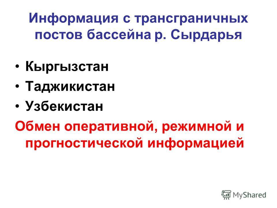 Информация с трансграничных постов бассейна р. Сырдарья Кыргызстан Таджикистан Узбекистан Обмен оперативной, режимной и прогностической информацией