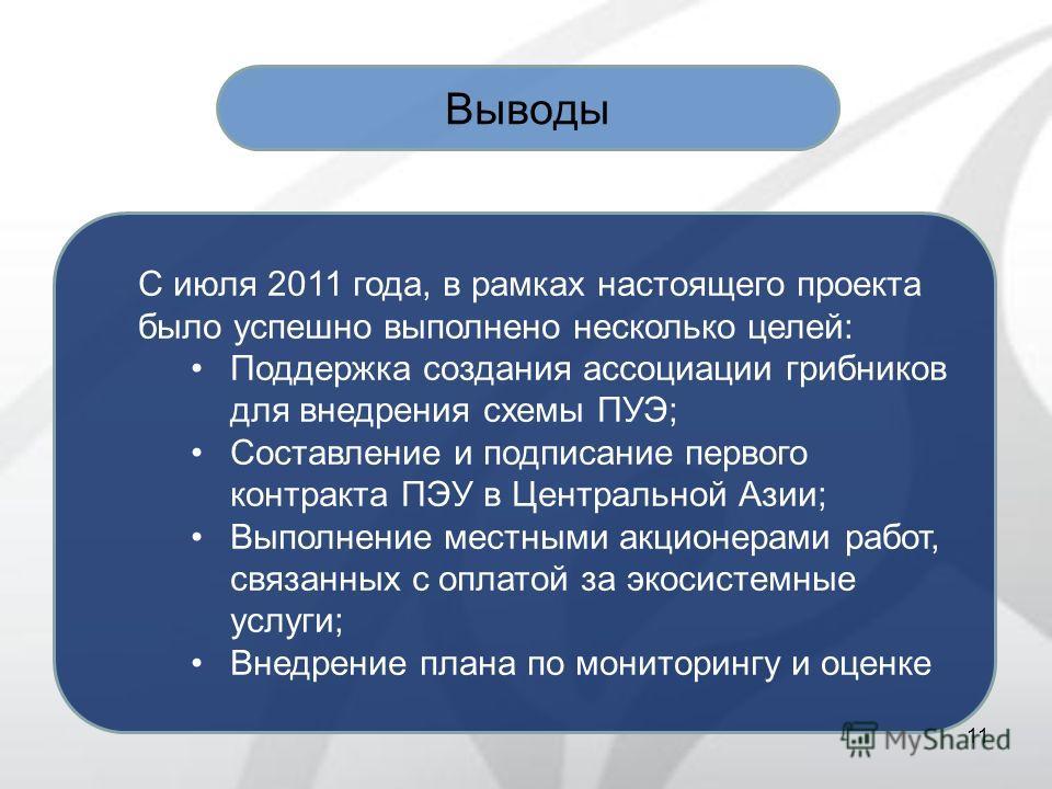 11 Выводы С июля 2011 года, в рамках настоящего проекта было успешно выполнено несколько целей: Поддержка создания ассоциации грибников для внедрения схемы ПУЭ; Составление и подписание первого контракта ПЭУ в Центральной Азии; Выполнение местными ак