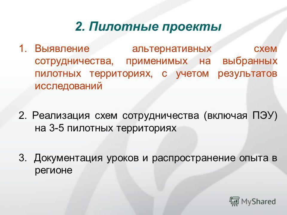 1.Выявление альтернативных схем сотрудничества, применимых на выбранных пилотных территориях, с учетом результатов исследований 2. Реализация схем сотрудничества (включая ПЭУ) на 3-5 пилотных территориях 3. Документация уроков и распространение опыта