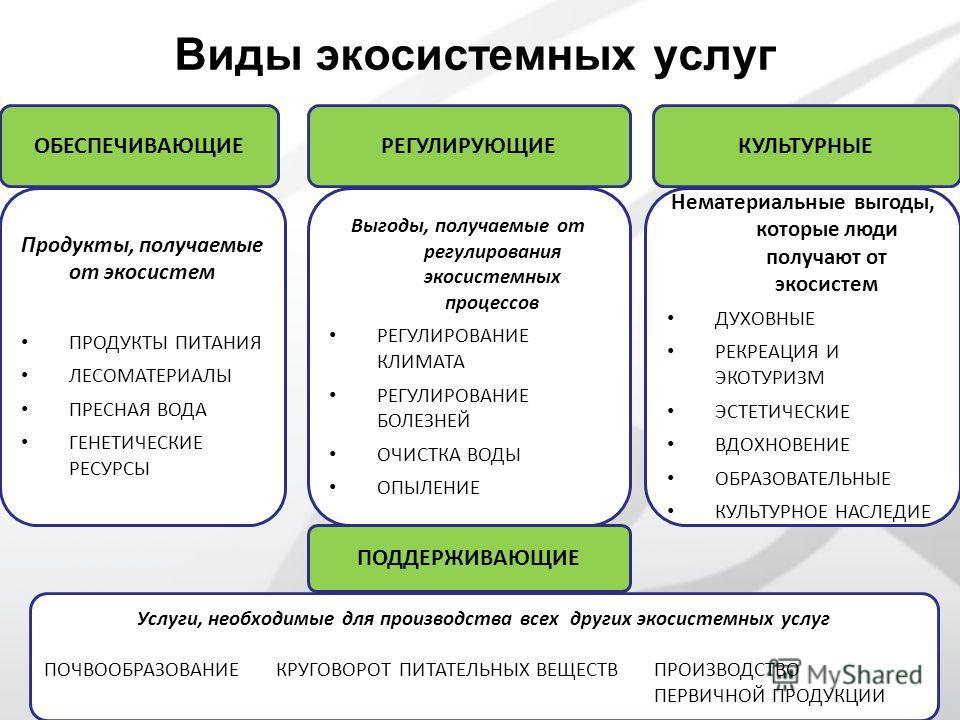 ОБЕСПЕЧИВАЮЩИЕ Продукты, получаемые от экосистем ПРОДУКТЫ ПИТАНИЯ ЛЕСОМАТЕРИАЛЫ ПРЕСНАЯ ВОДА ГЕНЕТИЧЕСКИЕ РЕСУРСЫ Выгоды, получаемые от регулирования экосистемных процессов РЕГУЛИРОВАНИЕ КЛИМАТА РЕГУЛИРОВАНИЕ БОЛЕЗНЕЙ ОЧИСТКА ВОДЫ ОПЫЛЕНИЕ РЕГУЛИРУЮЩ