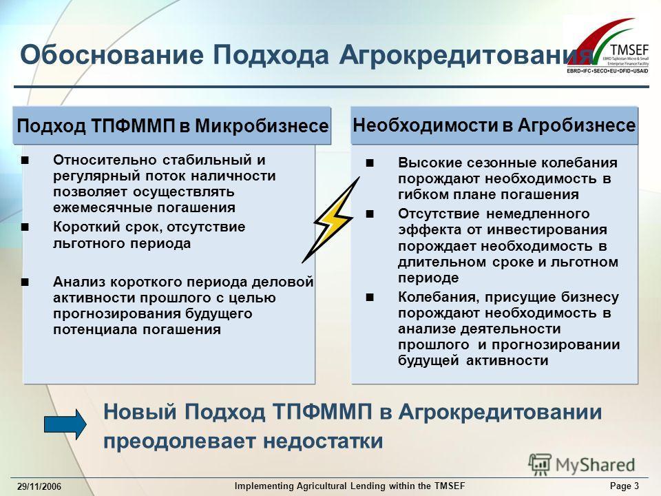 Page 3 Implementing Agricultural Lending within the TMSEF 29/11/2006 Обоснование Подхода Агрокредитования Новый Подход ТПФММП в Агрокредитовании преодолевает недостатки Подход ТПФММП в Микробизнесе Относительно стабильный и регулярный поток наличност