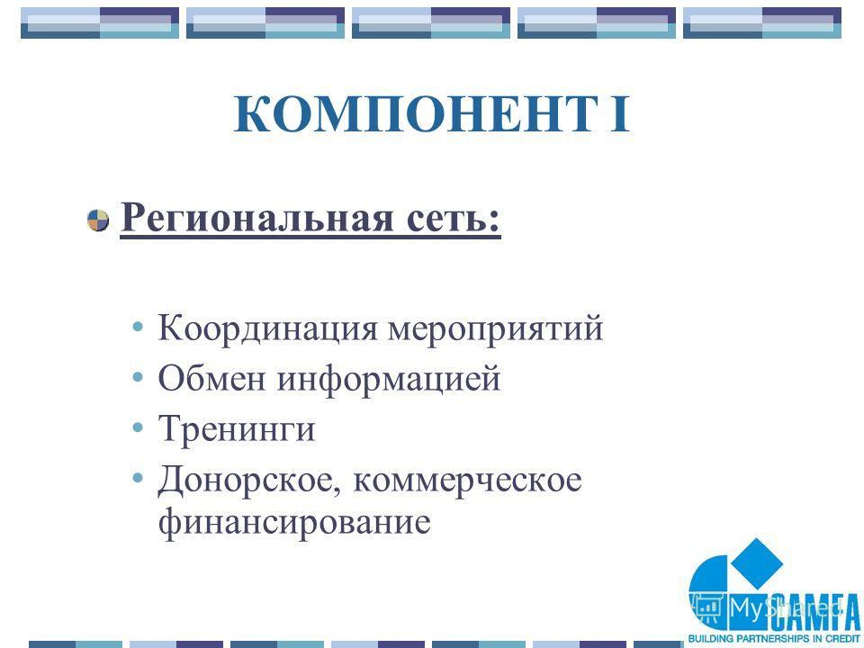 12 КОМПОНЕНТ I Региональная сеть: Координация мероприятий Обмен информацией Тренинги Донорское, коммерческое финансирование