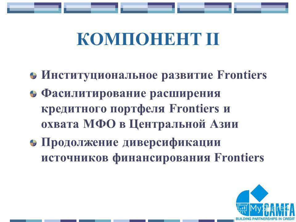 14 КОМПОНЕНТ II Институциональное развитие Frontiers Фасилитирование расширения кредитного портфеля Frontiers и охвата МФО в Центральной Азии Продолжение диверсификации источников финансирования Frontiers