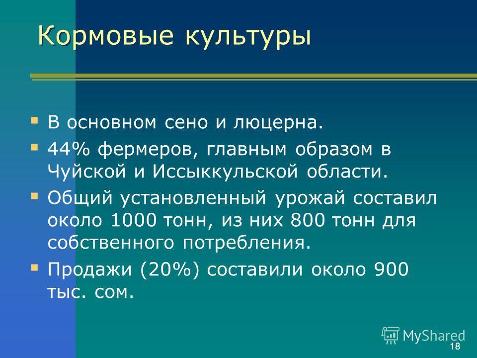18 Кормовые культуры В основном сено и люцерна. 44% фермеров, главным образом в Чуйской и Иссыккульской области. Общий установленный урожай составил около 1000 тонн, из них 800 тонн для собственного потребления. Продажи (20%) составили около 900 тыс.