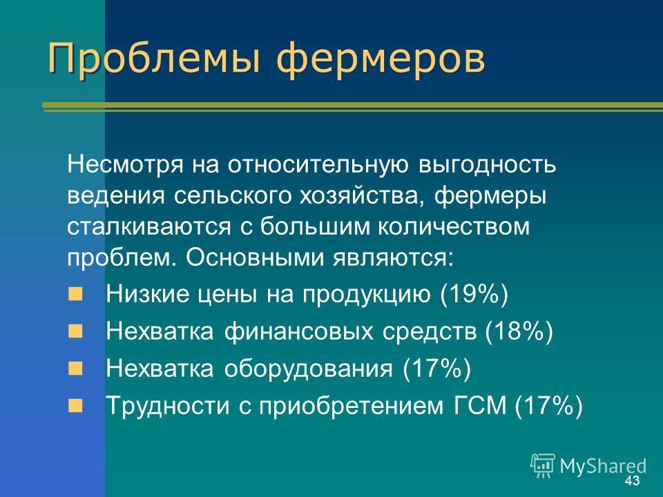 43 Проблемы фермеров Несмотря на относительную выгодность ведения сельского хозяйства, фермеры сталкиваются с большим количеством проблем. Основными являются: Низкие цены на продукцию (19%) Нехватка финансовых средств (18%) Нехватка оборудования (17%