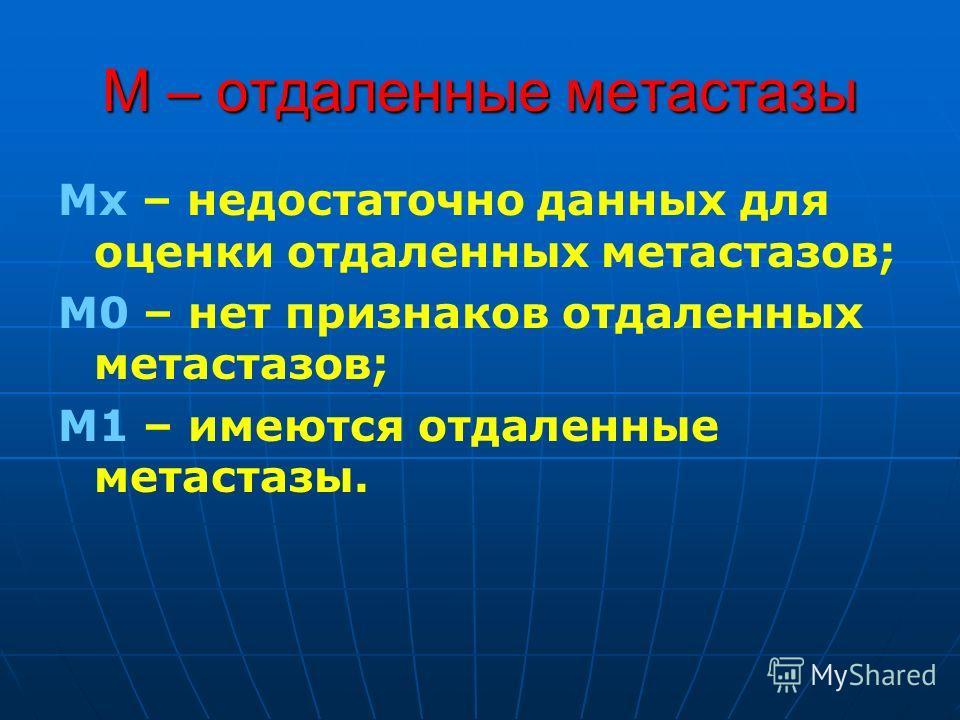 М – отдаленные метастазы Мх – недостаточно данных для оценки отдаленных метастазов; М0 – нет признаков отдаленных метастазов; М1 – имеются отдаленные метастазы.