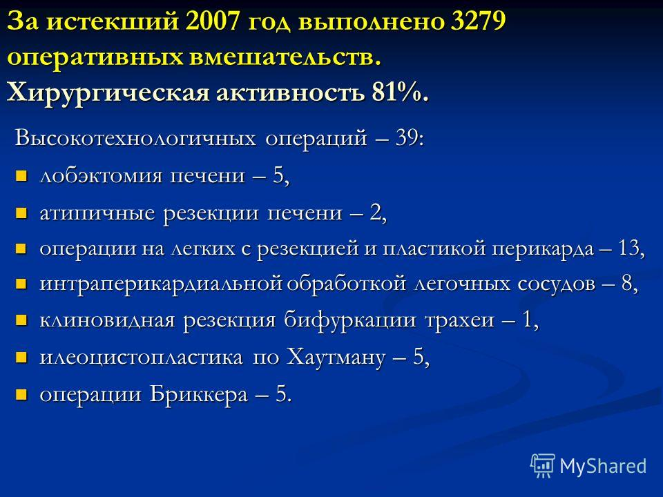 За истекший 2007 год выполнено 3279 оперативных вмешательств. Хирургическая активность 81%. Высокотехнологичных операций – 39: лобэктомия печени – 5, лобэктомия печени – 5, атипичные резекции печени – 2, атипичные резекции печени – 2, операции на лег