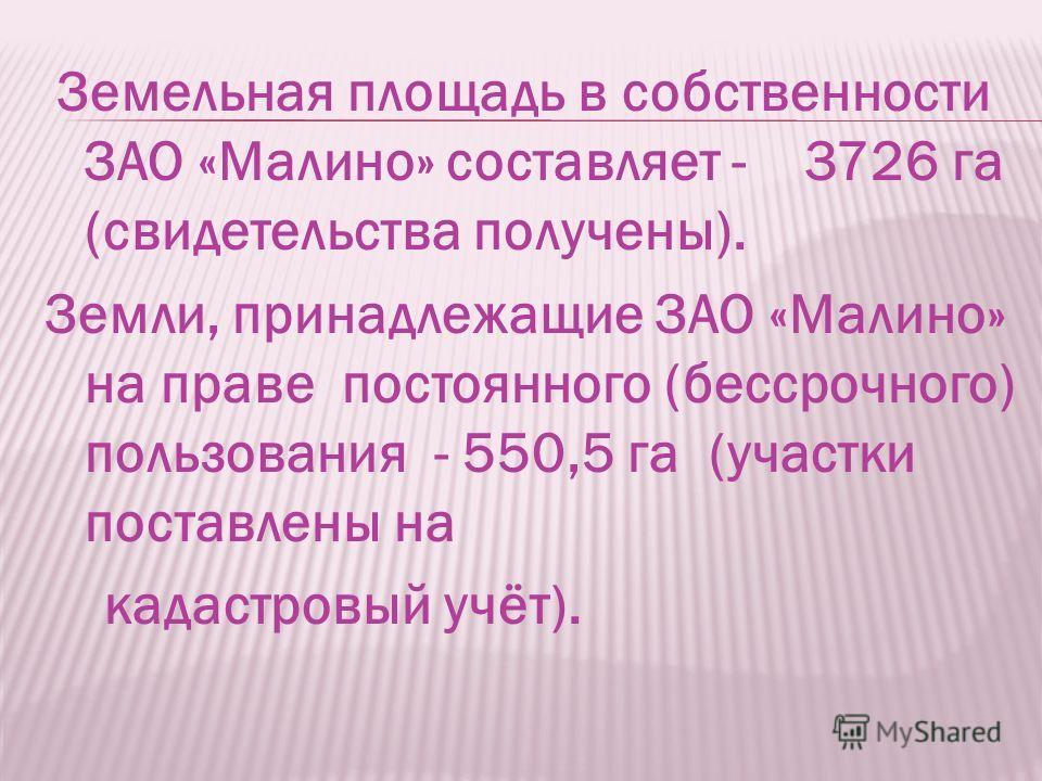 ЗАО «Малино» имеет развитую инфраструктуру и транспортные связи в т.ч. железнодорожное сообщение. До районного центра г. Ступино 28 км, до областного центра г. Москва -78 км. Асфальтированы подъездные пути. Проживает-1300 человек.