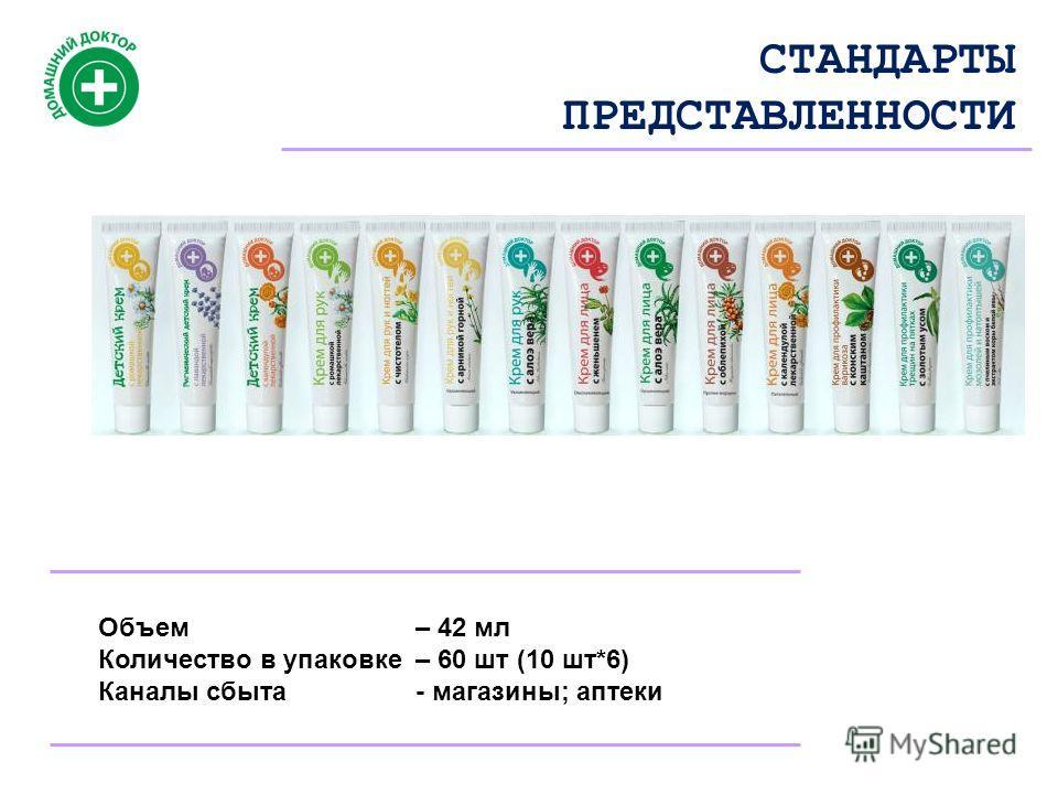 СТАНДАРТЫ ПРЕДСТАВЛЕННОСТИ Объем – 42 мл Количество в упаковке – 60 шт (10 шт*6) Каналы сбыта- магазины; аптеки