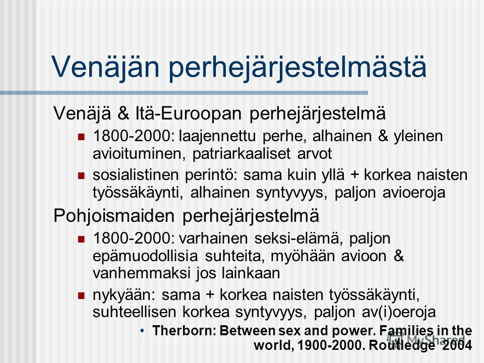 Venäjän perhejärjestelmästä Venäjä & Itä-Euroopan perhejärjestelmä 1800-2000: laajennettu perhe, alhainen & yleinen avioituminen, patriarkaaliset arvot sosialistinen perintö: sama kuin yllä + korkea naisten työssäkäynti, alhainen syntyvyys, paljon av