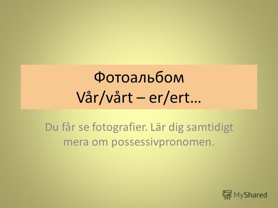 Фотоальбом Vår/vårt – er/ert… Du får se fotografier. Lär dig samtidigt mera om possessivpronomen.