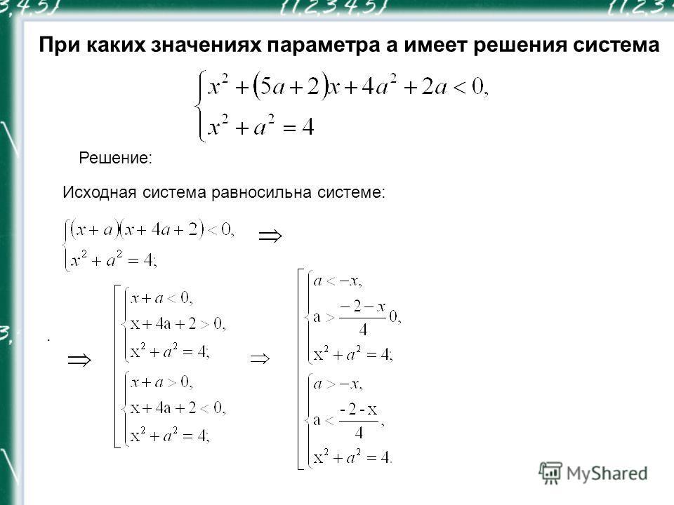 При каких значениях параметра a имеет решения система Решение:. Исходная система равносильна системе:
