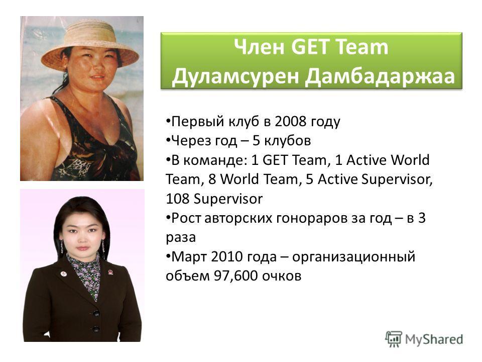 Первый клуб в 2008 году Через год – 5 клубов В команде: 1 GET Team, 1 Active World Team, 8 World Team, 5 Active Supervisor, 108 Supervisor Рост авторских гонораров за год – в 3 раза Март 2010 года – организационный объем 97,600 очков Член GET Team Ду