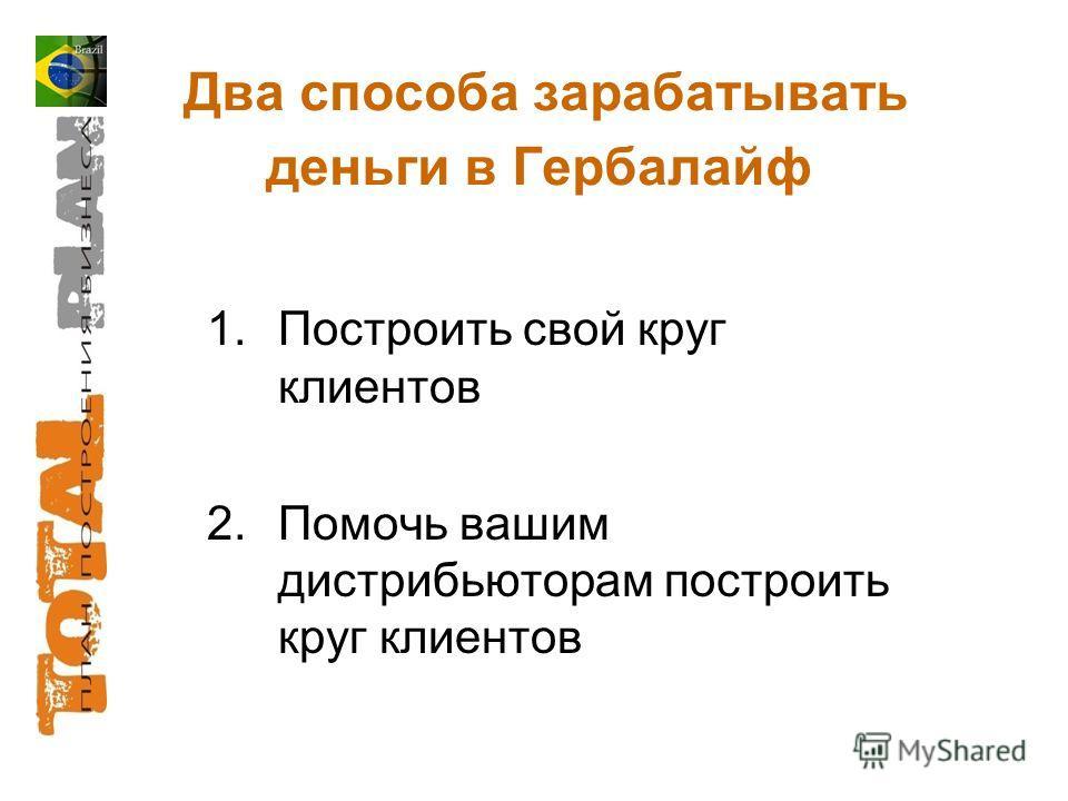Два способа зарабатывать деньги в Гербалайф 1.Построить свой круг клиентов 2.Помочь вашим дистрибьюторам построить круг клиентов