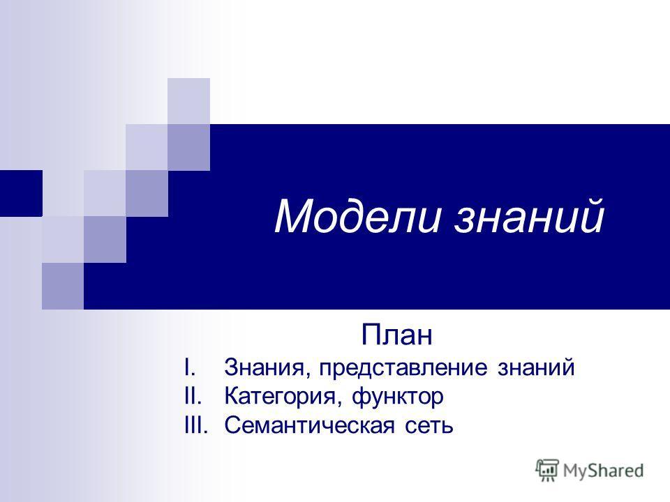 Модели знаний План I. Знания, представление знаний II. Категория, функтор III. Семантическая сеть
