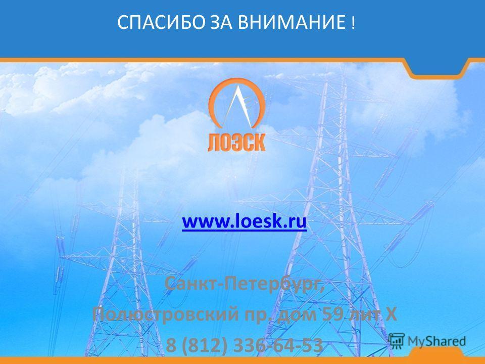 www.loesk.ru Санкт-Петербург, Полюстровский пр. дом 59 лит Х 8 (812) 336-64-53 СПАСИБО ЗА ВНИМАНИЕ !