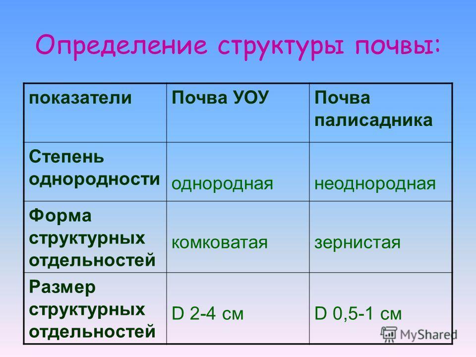 Определение структуры почвы: показателиПочва УОУПочва палисадника Степень однородности однороднаянеоднородная Форма структурных отдельностей комковатаязернистая Размер структурных отдельностей D 2-4 смD 0,5-1 см