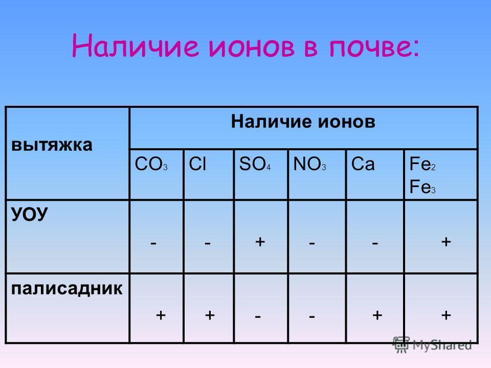 Наличие ионов в почве : вытяжка Наличие ионов CO 3 ClSO 4 NO 3 CaFe 2 Fe 3 УОУ - - + - - + палисадник + + - - + +